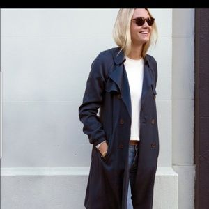 Loft navy blue trench coat size medium